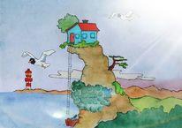 Aquarellmalerei, Comic, Zeichnung, Zeichnungen