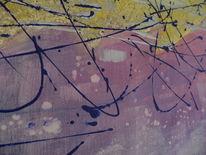 Malerei abstrakt, Gelb, Blau, Umkehr