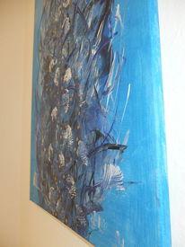 Acryl auf canvas, Weiß, Unterwasserrauschen, Gold