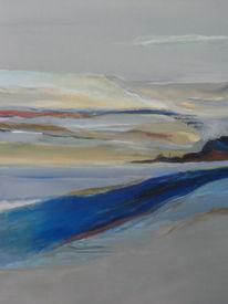 Wasser, Abstrakte landschaft, Acrylmalerei, Malerei