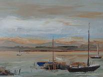 Schiff, Boot, Wolken, Ölmalerei