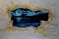 Meer, Wandmalerei, Wandaufriss, Airbrush