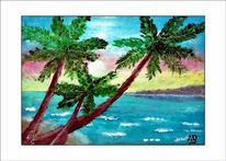 Blumen, Palmen, Meer, Küste