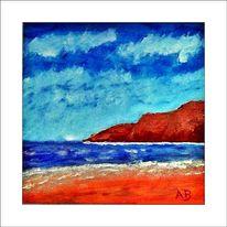 Gemälde, Brandung, Strand, Wolken