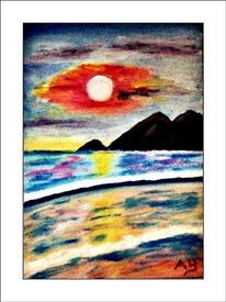 Sonnenuntergang, Strand, Wolken, Ölmalerei