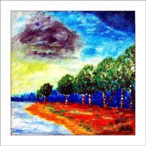 Ölmalerei, Himmel, Wasser, Wolken