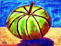 Moderne malerei, Melone, Ölmalerei, Stillleben