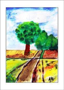 Baum, Hügel, Wolken, Zeitgenössisch