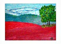 Ölmalerei, Moderne malerei, Hügel, Blumen