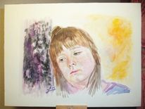 Bunt, Mädchen, Aquarellmalerei, Traurig
