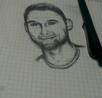 Schwarzweiß, Portrait, Zeichnung, Kuli