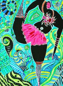 Psychedelisch, Tanz, Acrylmalerei, Schwarze frau