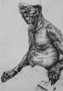 Zeichnung, Arbeiten, Afrika, Tuschezeichnung