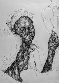Portrait, Tuschezeichnung, Afrika, Zeichnungen
