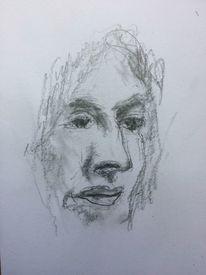 Frau, Portrait, Zeichnung, Zeichnungen