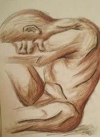 Akt, Mann, Kohlezeichnung, Zeichnungen
