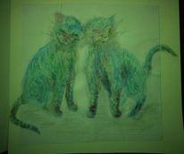 Katze, Karte, Zeichnung, Zeichnungen