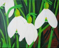 Schneeglöckchen, Winter, Blumen, Malerei