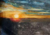 Landschaft, Sonne, Aquarell, Sonnenuntergang