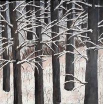 Landschaft, Wald, Winter, Baum