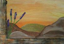 Lavendel, Fenster, Spanische berge, Malerei