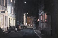 Stadt, Nacht, Ölmalerei, Dunkel