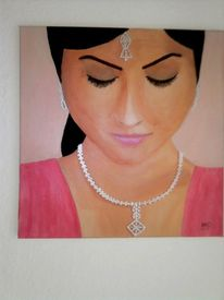 Malerei, Inderin, Frau, Junge