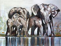 Schwarz weiß, Braun, Wasser, Elefant