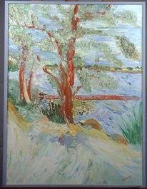 Gemälde, See, Stürmig, Natur