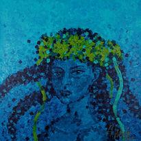 Mädchen, Blau, Portrait, Malerei