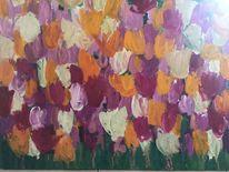 Ölmalerei, Tulpen, Farben, Weiß