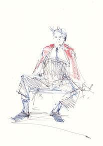 Alter mann, Clown, Sitzen, Mischtechnik
