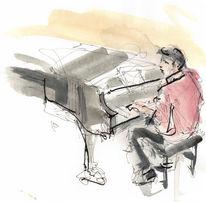 Mann, Jazz, Klavier, Mischtechnik
