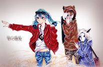 Comic, Japanisch, Copic, Manga mädchen