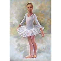 Gesicht, Ballerina, Malerei, Ölmalerei