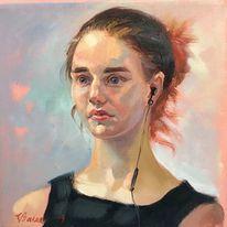Portrait, Frau, Malerei, Mädchen