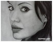 Portrait, Angelina jolie, Bleistiftzeichnung, Prominent