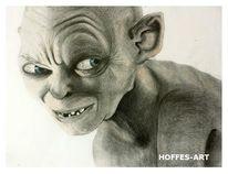 Bleistiftzeichnung, Gollum, Herr der ringe, Portrait