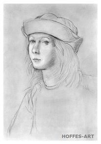 Zeichnung, Schraffurtechnik, Skizze, Portrait
