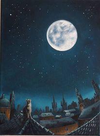 Stadt, Mondsüchtig, Nacht, Katze