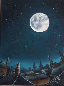 Katze, Mond, Stadt, Mondsüchtig