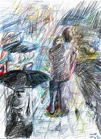 Traum, Buntstiftzeichnung, Stadt, Expressionismus
