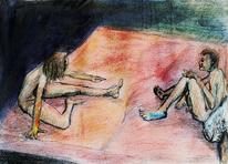 Comic, Tuschmalerei, Illustration, Bettszene