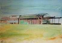 Vergangenheit, Rheinhausen, Aquarellmalerei, Industrie