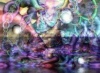 Modern, Farben, Kunstdruck, Traum