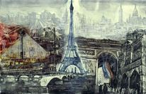 Collage paris, Landschaft, Figural, Schwarz
