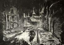 Winternacht, Kleinstadt nachts, Radierung, Gedruckt als metallschnitt