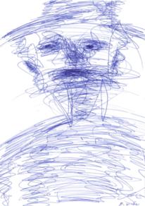Portrait, Zeichnung, Abstrakt, Blau