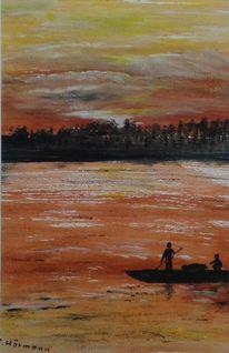 Boot, Fluss, Sonnenuntergang, Wolken
