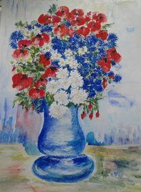 Blumenstrauß, Vase, Aquarellmalerei, Sommerblumen